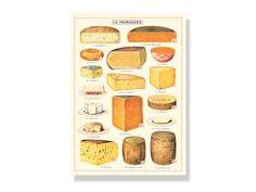 """Küchentuch """"17 Käsesorten"""" von Cavallini - Bedandroom Vintage Stil, Gourmet, Cheese Plant"""