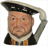 Royal Doulton Design Trial/Colourway Character Jug Henry VIII (front pattern differs and orange blue shirt)
