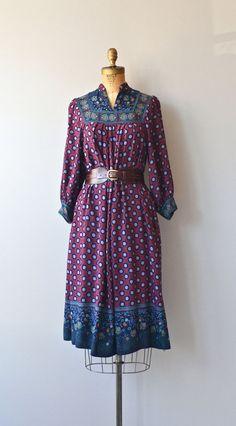 Lisbon dress vintage 1970s indian print dress 70s by DearGolden