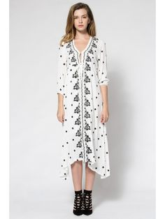 Tiny Floral Embroidery Tie-Up 3/4 Sleeve Dress - WHITE S