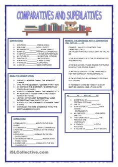 A collection of English ESL worksheets for home learning, online practice, distance learning and English classes to teach about comparatives, comparatives Grammar Quiz, Grammar Practice, Grammar Lessons, English Fun, English Lessons, Learn English, English Language, English Grammar Worksheets, English Vocabulary