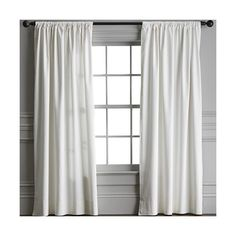 Williams-Sonoma Cotton Canvas Drape found on Polyvore featuring polyvore, home, home decor, window treatments, curtains, window panels, outdoor window treatments, window curtain panels, window coverings and outdoor curtains
