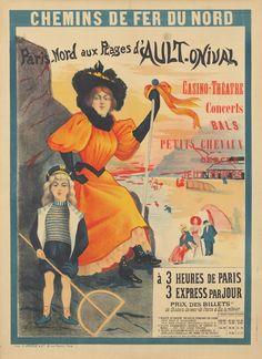 Vintage Railway Travel Poster -   Plages d'Ault-Onival - Paris-Nord - France -1897.