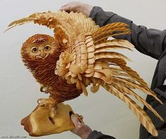 Intricate animal sculptures made from cedar wood chips by Sergei Bobkov, Russia. Each sculpture can take up to six months to complete. Animal Statues, Animal Sculptures, Driftwood Sculpture, Sculpture Art, Wooden Sculptures, Wooden Owl, Wood Bird, Chip Art, Wood Animal