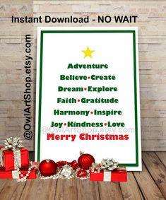 Merry Christmas greeting with Inspirational words by OwlArtShop