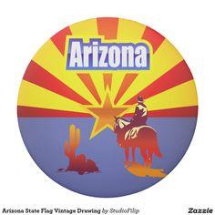 Arizona State Flag Vintage Drawing Eraser