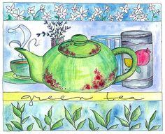 green tea watercolor painting kitchen art