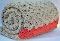 Coral and grey #crochet afghan blanket by Valkinthreads2 via @Mollie Makes
