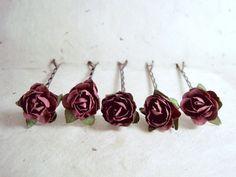 Aubergine Rose Hair Pins. Handmade Paper Flower Bobby Pins in