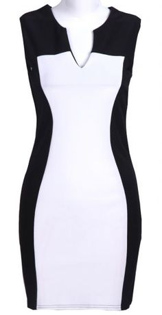 Black and White V Neck Sleeveless Bodycon Dress // strong design lines that create the illusion of shape #wearabledesign