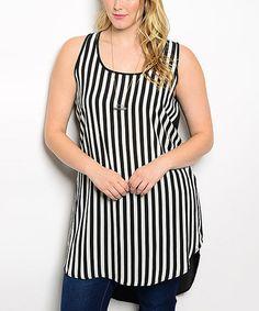 This Black & White Stripe Hi-Low Racerback Tunic -  Plus is perfect! #zulilyfinds