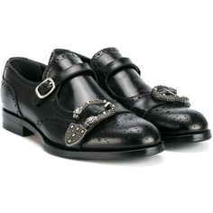 Gucci Queercore brogue monk shoes ($1,110) ❤ liked on Polyvore featuring men's fashion, men's shoes, gucci mens shoes, mens black buckle shoes, mens buckle shoes, mens black leather shoes and mens black shoes