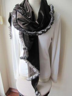 Dark brown velvet wrap shawl handmade knit ruffle by Scarves2012