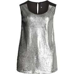 Manon Baptiste Silver / Black Plus Size Sleeveless sequin top (260 AUD) ❤ liked on Polyvore featuring tops, shirts, silver, blouses, plus size, sequin top, going out tops, women plus size tops, party tops and sequin shirt