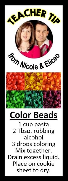 Pasta + food coloring & rubbing alcohol = colored beads!