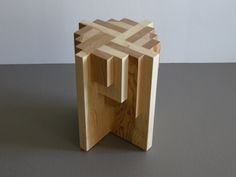Handcrafted Parquet Pedestal + Table + Stool by Jason Lees
