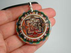 Buddhism Mandala Polymer Clay Necklace by ArtHarmony on Etsy