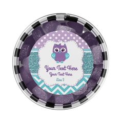 Customizable Purple Teal Owl Chewing Gum Favor