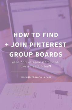 How to find and join Pinterest group boards http://www.freeborboleta.com/2015/07/how-to-find-and-join-pinterest-group-boards/?utm_content=bufferfad3f&utm_medium=social&utm_source=pinterest.com&utm_campaign=buffer #pinterest #socialmedia #bloggingtips