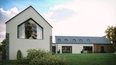 A modern house in Straffan, County Kildare to suit a (growing) young family. featuring timber cladding and zinc roof with open plan living. Residential architects slemish design studio work all over Northern Ireland UK and Ireland Ireland Uk, Northern Ireland, Zinc Roof, Residential Architect, Timber Cladding, Open Plan Living, Shed, Outdoor Structures, Young Family
