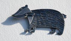 Badger brooch in oxidised silver finish