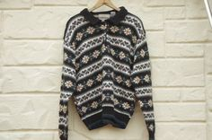 Vintage 90s Fair Isle Collared Sweater Boho by SycamoreVintage