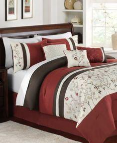 New Martha Stewart Cherry Lane 9 Piece Queen Comforter Set