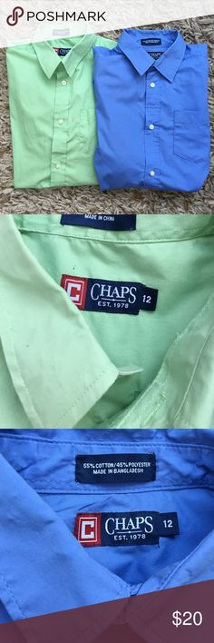 Bundle of 2 boys Chaps dress shirts Lot of two boys size 12 Chaps brand button-down dress shirts. These are in excellent preowned condition. Smoke-free pet free home. Chaps Shirts & Tops Button Down Shirts