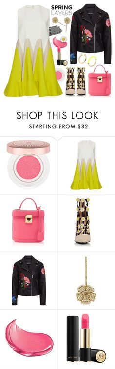 """Bright Spring Layers"" by sweet-designs ❤ liked on Polyvore featuring Lancôme, Delpozo, Mark Cross, Fabrizio Viti, Miriam Haskell and Marc by Marc Jacobs"