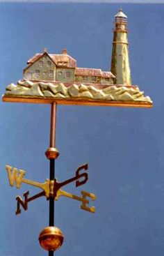 Lighthouse Weather Vane, Portland Lighthouse by West Coast Weather Vanes.  This handcrafted lighthouse weathervane can be custom made using a variety of metals and accent materials.