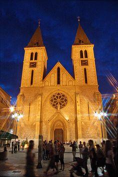 Katedrala Srca Isusova [Catholic Cathedral] at Night, (Sarajevo, Bosnia & Herzegovina)