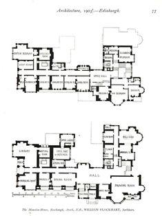 1903 floorplans of Rosehaugh House Scotland