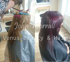 Hair makeover at Venus Beauty & Hair: Julie's faded out blonde was brought back to a voluptuous, rich, multi-tonal chocolate brown. John then added hints of violet to produce outstanding, cool shine.