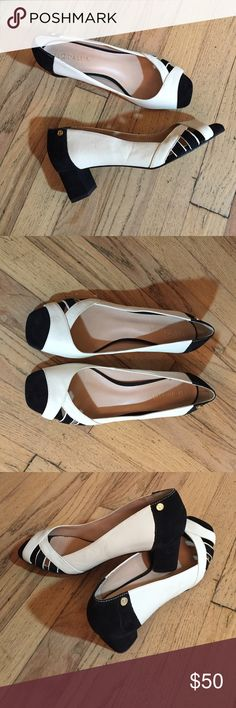 """Black and white peep toe block heel sandals. Classic, sophisticated, and comfortable leather and suede sandals, made and bought in Brazil. 1 3/4"""" heel. Used once. Size is 7.5"""" even though it reads 7"""" on sole. Luz da Lua Shoes Sandals"""