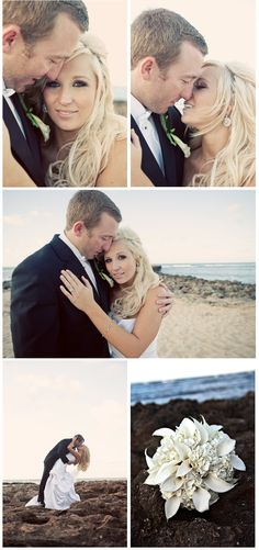 Beach Wedding by Couture Events! Gorgeous Wedding Hair!  Teale Photography.