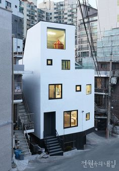 Modern four story narrow house Minimal Architecture, Japanese Architecture, Contemporary Architecture, Architecture Details, Interior Architecture, Building Design, Building A House, Building Facade, 3 Storey House