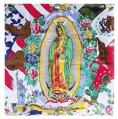 Our Lady Mother Maria Guadalupe Garcia Zavala Mexican American Flag Bandana 100% Cotton Patron Saint