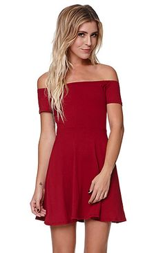 The women's Off Shoulder Fit & Flare Dress by LA Hearts for PacSun and… Wine Red Dress, Short Cocktail Dress, Cocktail Dresses, Off Shoulder Fashion, Little Red Dress, Curvy Dress, Mini Dress With Sleeves, Chic Dress, Fit Flare Dress