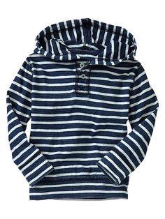 Gap   Indigo striped pullover hoodie