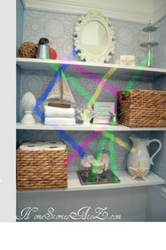 DIY: How To Decorate Shelves - tutorial on decorating shelves in kitchen, den, etc. Lots of pictures & sketches - great info! - Home Decorating Tips Sweet Home, Diy Regal, Floating Shelves Diy, Open Shelves, Storage Shelves, Shelving Ideas, Storage Ideas, Shelving Decor, Laundry Shelves