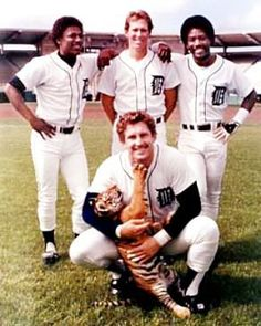 Lance Parrish, Lou Whitaker, Alan Trammell, Chet Lemon I want to hold that little tiger Detroit Sports, Detroit Tigers Baseball, Detroit Lions, Sports Teams, State Of Michigan, Detroit Michigan, Baseball Season, Baseball Players, Baseball Cards