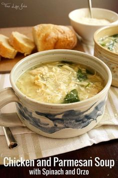 Chicken and Parmesan Soup with Spinach and Orzo is such a delicious ...