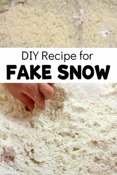 An easy DIY recipe for fake snow with flour and corn starch! Perfect for a winter-themed sensory bin or as part of your preschool Arctic theme. Make it extra fun and sparkly by adding glitter! Sensory Bins, Sensory Activities, Winter Activities, Sensory Play, Sensory Table, Recipe For Fake Snow, Snow Recipe, Preschool Teacher Tips, Preschool Lesson Plans