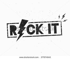 Vintage Rock Label. Rock It. Vector illustration with lightning. Template for your t-shirt, flyer, poster, banner, disc cover, cafe or some art works. - stock vector