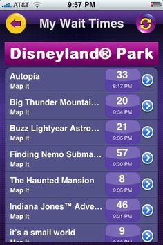 Disney wait time app for iPhone.....it is great when you are in the park and need to know if you want to wait in a long line.