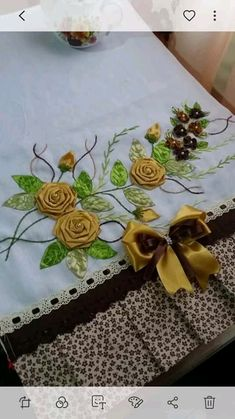 Ribbon Embroidery Tutorial, Hand Embroidery, Ribbon Work, Silk Ribbon, Game Of Thrones, Embellishments, Diy And Crafts, Decoration, Sewing