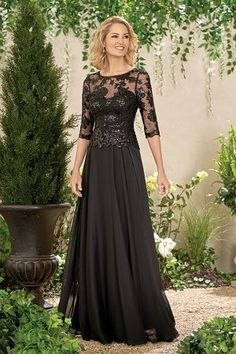 b512d7a957c J195014 Long Boat Neckline Sequin Lace   Chiffon MOB Dress with Sleeves. Jasmine  BridalWedding ...