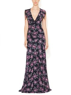 Printed V-Neck Open Back Gown by ZAC Zac Posen at Gilt