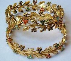 Multi Gemstone Gold Plated Leaf Wreath Vine Bangle Bracelet Pair Navratna on imgfave Dubai Gold Bangles, Gold Bangles Design, Gold Jewellery Design, Gold Jewelry, Metal Clay Jewelry, Baby Jewelry, Bridal Jewellery, Vintage Jewelry, Pearl Necklace Designs