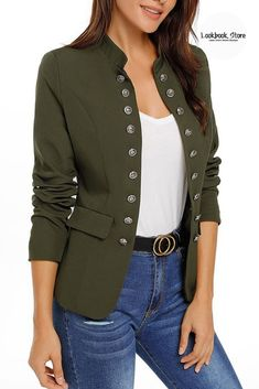 Most Wanted // Fully satisfy your cold weather needs as you wear this super stylish army green stand collar open-front blazer. Casual T Shirts, Casual Outfits, Green Blazer Outfits, Blazers For Women, Jackets For Women, Shower Outfits, Women's Fashion Dresses, Streetwear Fashion, Leggings Are Not Pants